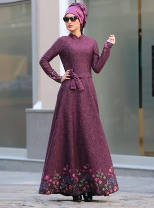 Eteği Çiçekli Elbise - Mürdüm