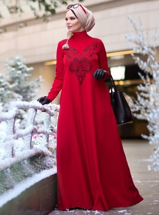Red - Unlined - Muslim Evening Dress
