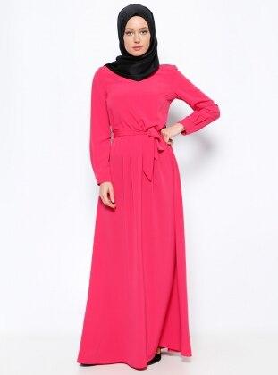 Pile Detaylı Elbise - Fuşya Missmira