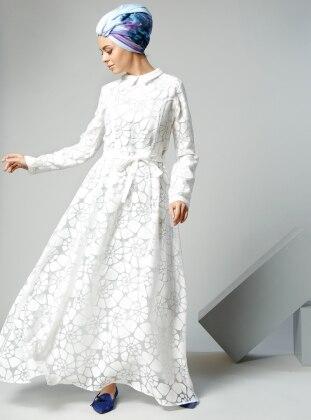 Yakma Elbise - Beyaz - Refka Women