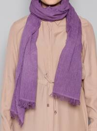Plain - Purple - Cotton - Shawl