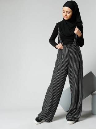 Askılı Bol Paça Pantolon - Siyah Refka