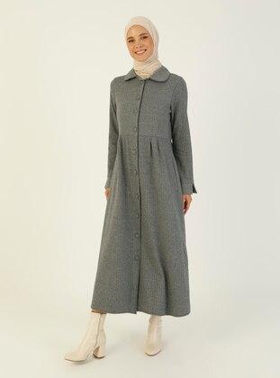 Gray - Multi - Unlined - Round Collar - Topcoat
