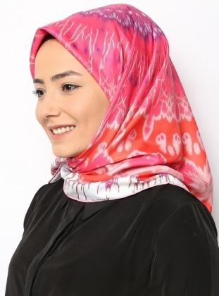 Geometric Fractal Pink Twill Eşarp - Pembe - Duanil