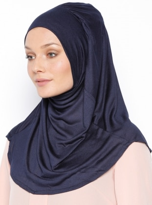 Navy Blue - Plain - Pinless - Cotton - Instant Scarf