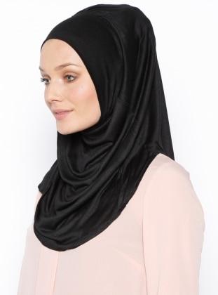 Black - Plain - Pinless Shawls - Cotton - Instant Scarf