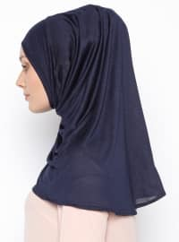Navy Blue - Plain - Pinless Shawls - Cotton - Instant Scarf