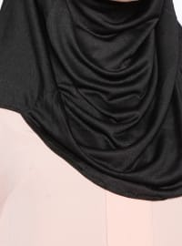 Black - Plain - Pinless - Cotton - Instant Scarf