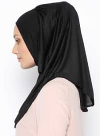 Black - Plain - Pinless Shawls - Cotton - Instant Scarf