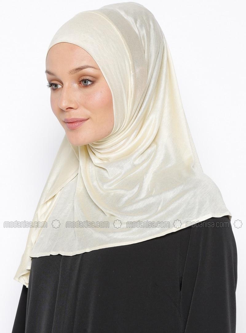 Ecru - Ecru - Plain - Pinless - Cotton - Instant Scarf