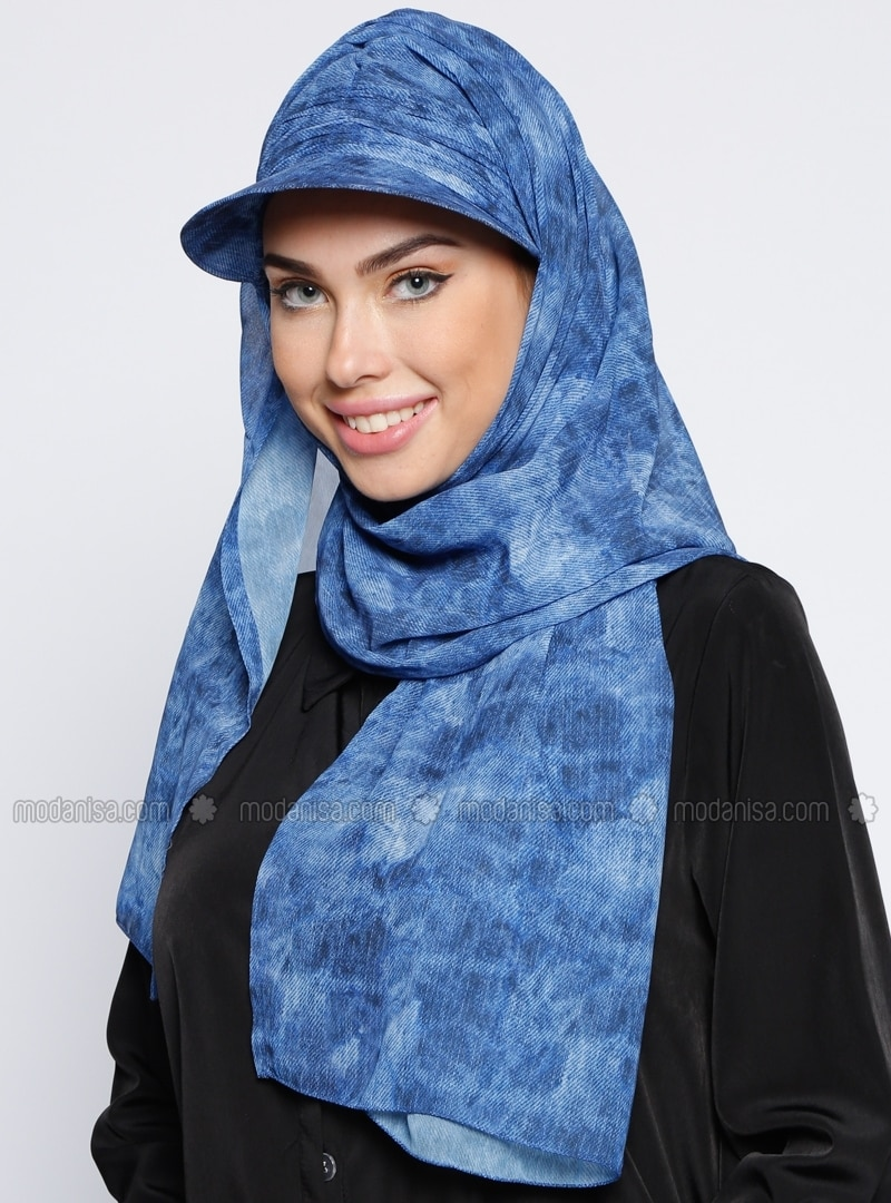 Blue - Plain - Pinless  - Instant Scarf
