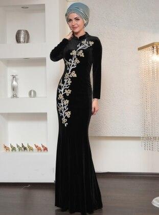Ahu Kadife Balık Abiye Elbise - Siyah Dilek Köroğlu