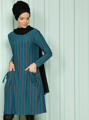 Çizgili Simli Tunik - Mavi Gri