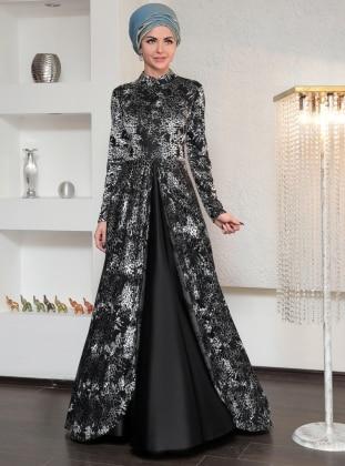Dilek Köroğlu Desenli Kadife Abiye Elbise - Siyah