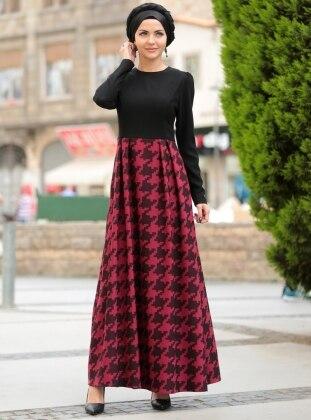 Elfida Elbise -Siyah-Kırmızı