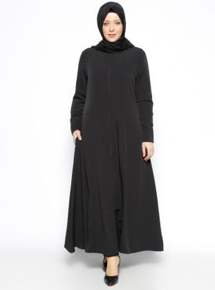 Crew neck - Unlined - Black - Plus Size Abaya