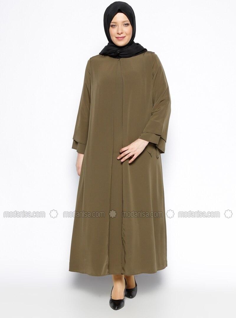 Crew neck - Unlined - Khaki - Plus Size Abaya