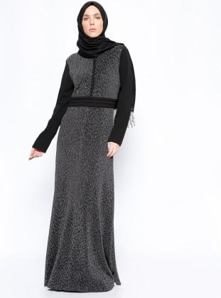 Brit Detaylı Simli Elbise - Siyah Gri BÜRÜN