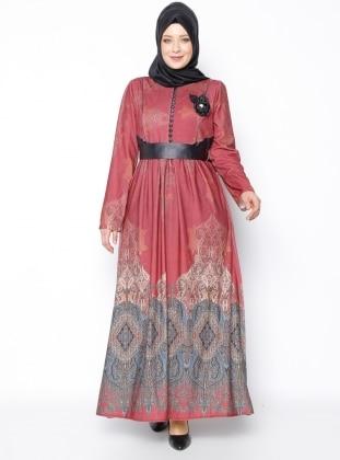 DMN Desenli Elbise - Bordo