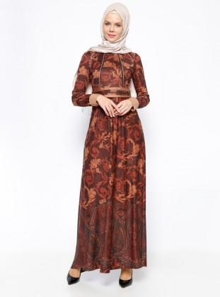 DMN Desenli Elbise - Kahverengi