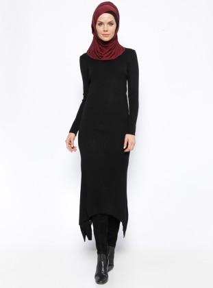 Triko Elbise - Siyah