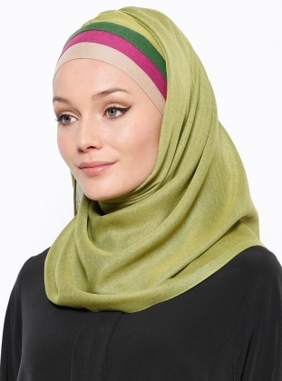 Green - Plain - Pinless - Instant Scarf