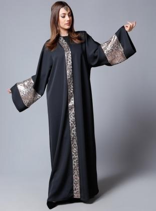 Parlak Payet Işıltı Abaya - Siyah