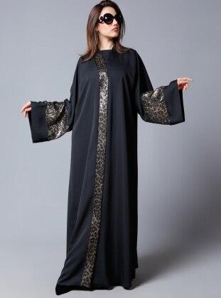 Payet Işıltı Abaya - Siyah