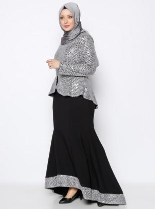 Payetli Abiye Elbise - Gümüş