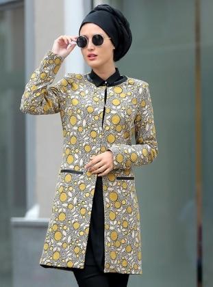 Selma Sarı Design Puantiyeli Ceket - Sarı