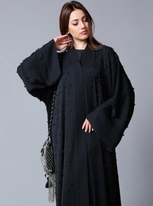 SHEIKHA Siyah İncili Abaya - Siyah