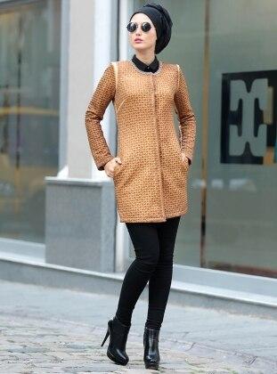Yakası Metal Detaylı Ceket - Bakır Selma Sarı Design