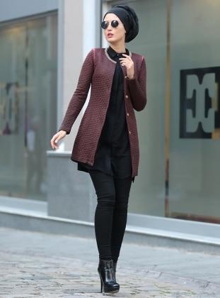 Yakası Metal Detaylı Ceket - Bordo Selma Sarı Design