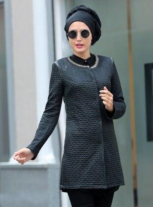 Yakası Metal Detaylı Ceket - Siyah Selma Sarı Design