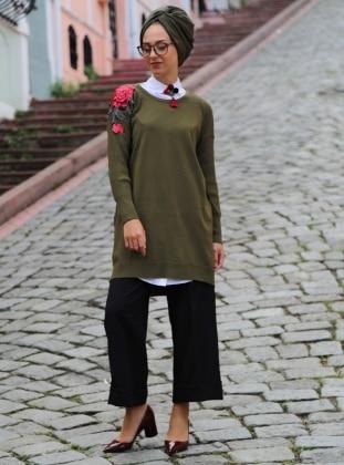 Khaki - Crew neck - Tunic - Vitrinsbutik