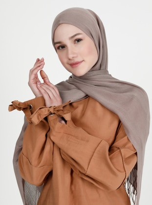 Fringe - Plain - Brown - Pashmina - Shawl