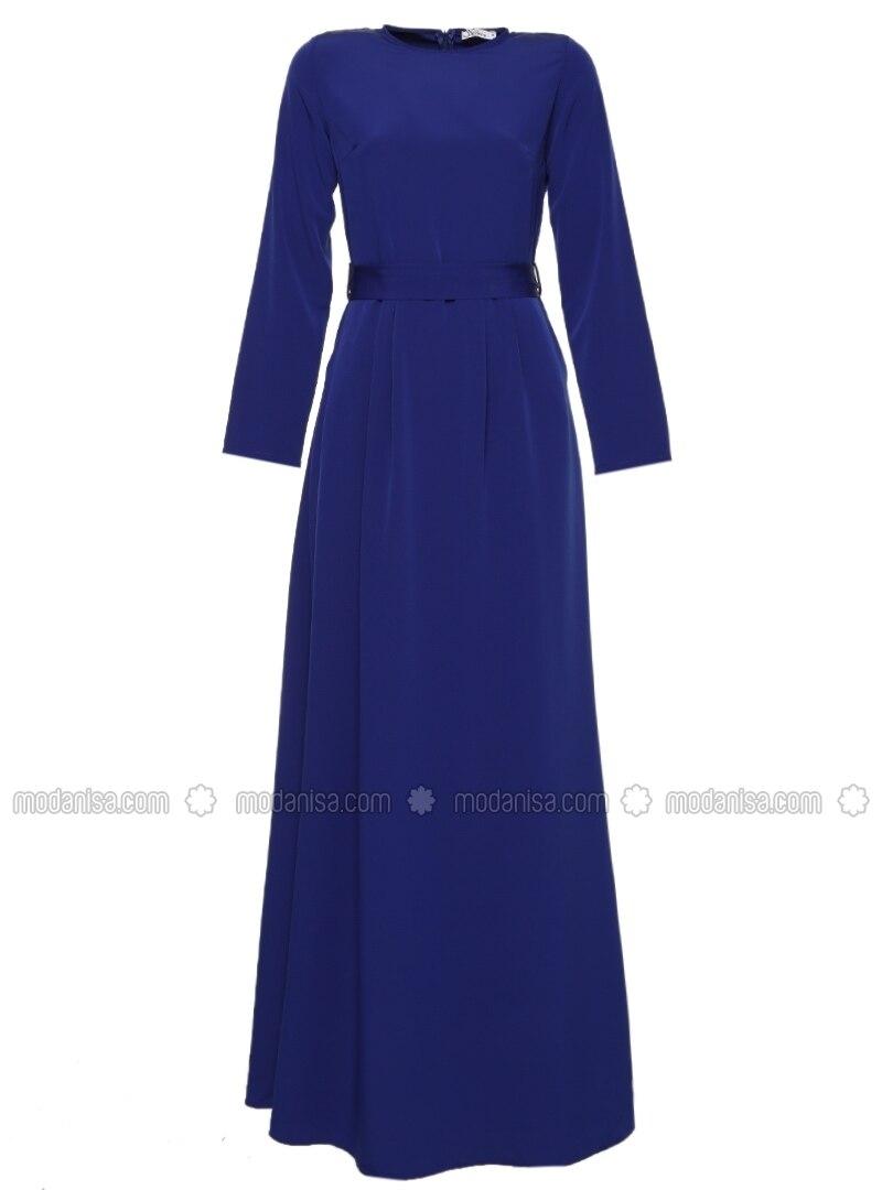 ohne innenfutter rundhalsausschnitt royalblau hijab kleid missmira. Black Bedroom Furniture Sets. Home Design Ideas