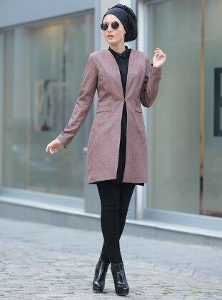 Baskılı Ceket - Gül Kurusu Selma Sarı Design