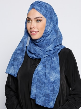 Blue - Printed - Pinless  - Instant Scarf