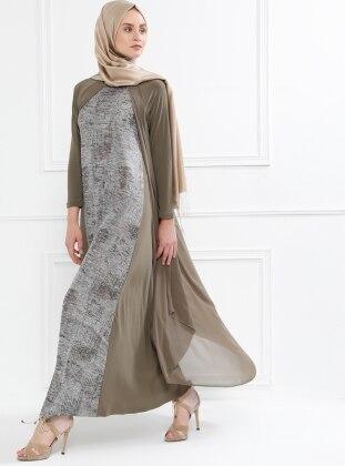 Şifon Detaylı Elbise - Haki