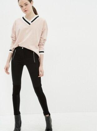 Fermuar Detaylı Tayt Pantolon - Siyah Koton