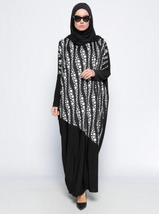 Yarasa Kollu Elbise - Siyah Beyaz Arzu Ergen