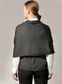 Plain - Gray - Cotton - Acrylic - Shawl