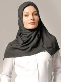 Plain - Gray - Cotton - Acrylic - Shawl -  Şal