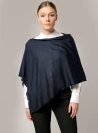 Plain - Navy Blue - Cotton - Acrylic - Shawl -  Şal