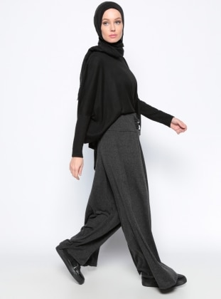 Beli Lastikli Pantolon - Siyah Black And Black