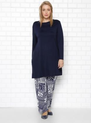 Beli Lastikli Desenli Pantolon - Lacivert RMG