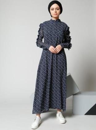 Şemsiye Desenli Şifon Elbise - Lacivert Refka