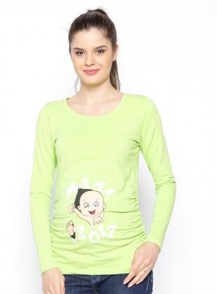 Hamile Bluz - Fıstık Yeşili - Gör & Sin Gör & Sin