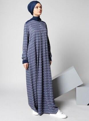 Refka Doğal Kumaşlı Desenli Elbise - Lacivert